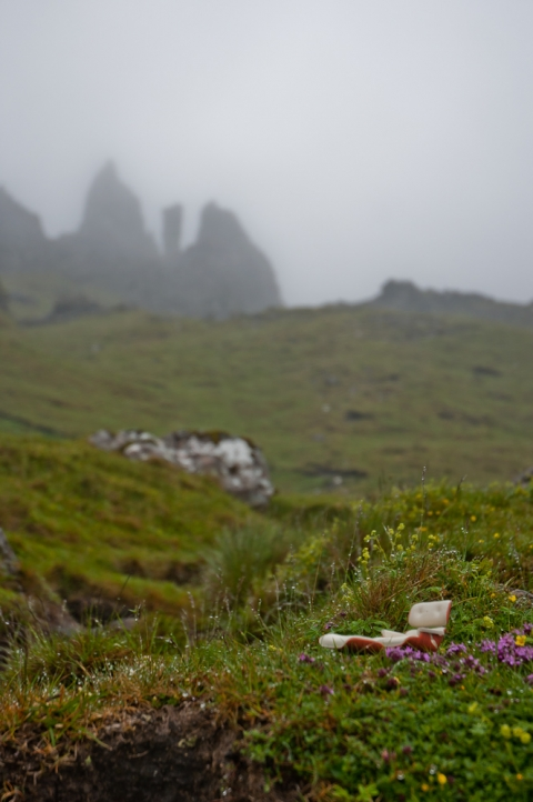 Eames lounge in front of Old Man of Storr, Scotland