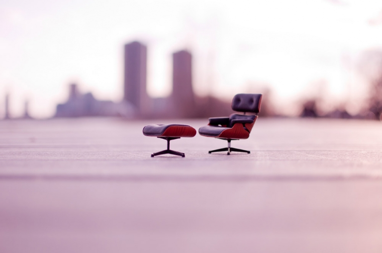 Small Eames Lounge and Ottoman at Sunset, in Toronto, Canada