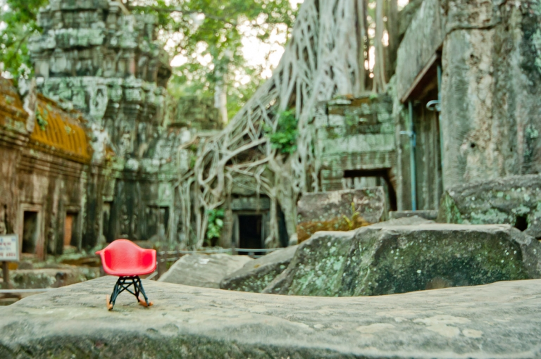 Miniature Eames Rocking Chair in Cambodia Ruins - Angor Wat